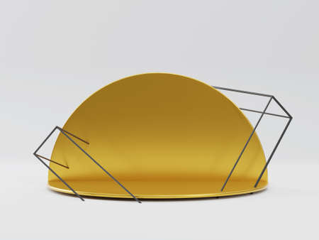 Golden round podium on white studio background with box cage. 3d render pedestal for products Banco de Imagens