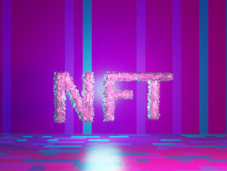 NTF text on vivid tech violet background. Non-refundable token. 3d render. Crypto art place for selling. Blockchain concept.