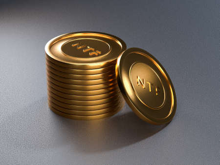 NTF coin token on grey background. Non-refundable token. 3d render. Crypto art place for selling. Blockchain concept.