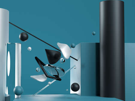 Blue abstract flying geometric objects. Black, blue, glass and silver colours. 3d render Stok Fotoğraf