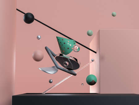 Blue abstract flying geometric objects. Black, pink, glass and green colours. 3d render