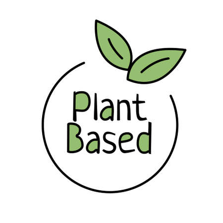 Plant based outline icon. Vegan food. Ecology friendly food. Eco label