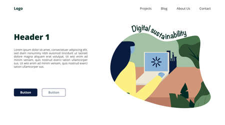 Digital footprint concept. Girl with laptop connected to internet. Data sustainability. Hand drawn cartoon style. Website landing page UI Design