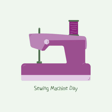 Sewing machine worlds day on 13 June. Purple sewing equipment   in flat design.