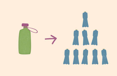 change from plastic bottles to reusable water bottle. free hand doodle vector with texture. zero waste lifestyle. Ilustração
