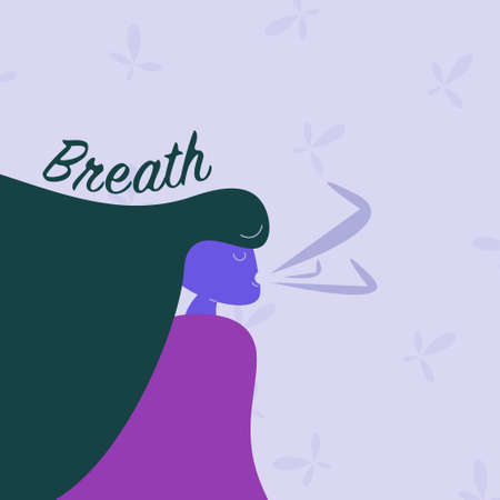 Woman breathing fresh air. inhale exhale concept. breath activity. stress relief. meditation and relaxation Ilustração
