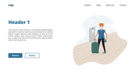 Webpage block - Man with ffp2 mask and health immune passport after  vaccine in the airport. Post pandemic travel. Flat cartoon style vector.