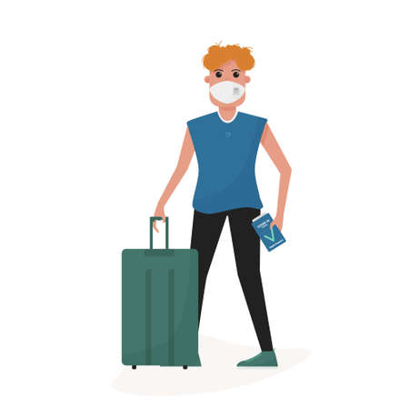 Man with ffp2 mask and health immune passport after  vaccine in the airport. Post pandemic travel. Flat cartoon style vector. Ilustração