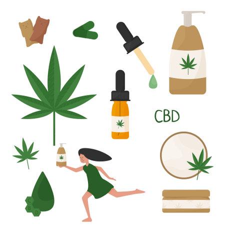 CBD products set in flat style. Cosmetics with cannabis. Cannabidiol lotion, cream and shampoo. Natural hemp beauty treatment