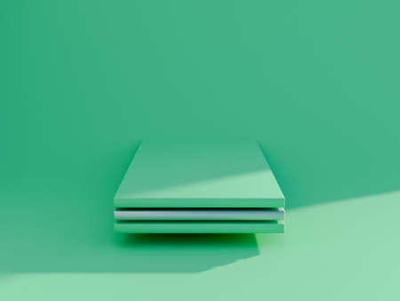 Minimal scene with podium and abstract background. Pastel green scene. Trendy 3d render for social media banners, promotion, cosmetic product show. Geometric shapes interior. Banco de Imagens