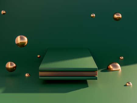Minimal scene with geometric shapes. dark green and golden metal colours. Trendy 3d render for social media banners, promotion, cosmetic product show. Geometric shapes interior