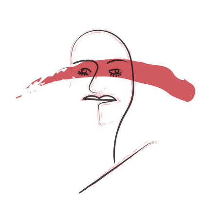 contemporary portrait in lineart with ink strokes, red stroke on eyes. social issues concept. human rights