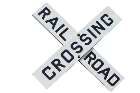 railroad crossing sign isolated on white 版權商用圖片