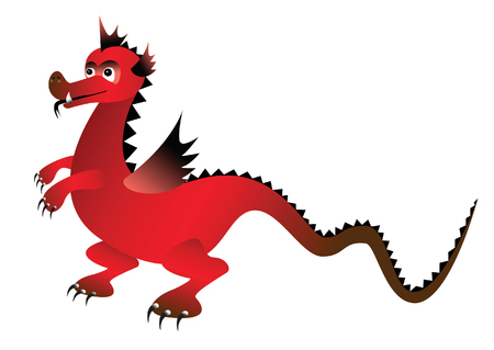 Red magic dragon. Vector illustration Illustration