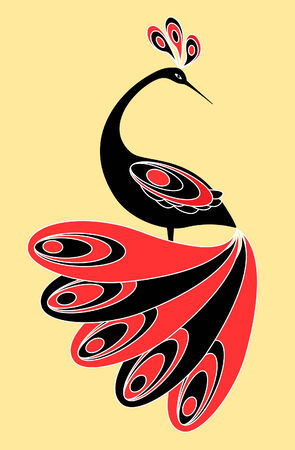folkloric: Decorative scetching bird. Vector illustration. Illustration