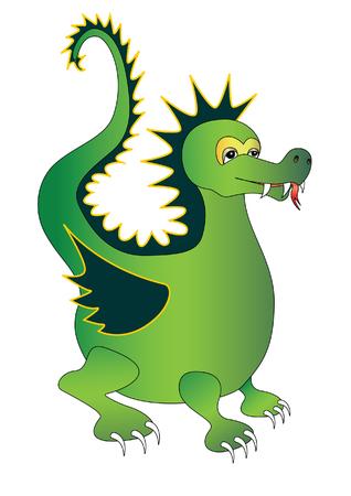 dragon vertical: Green magic dragon. Vector illustration