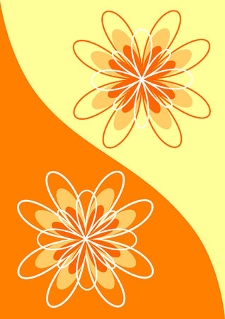 Abstract flowers in orange tones. Vector illustration Vector