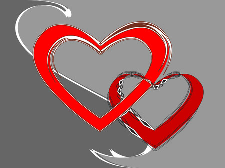 Couple.Two bound hearts. Vector illustration Vector