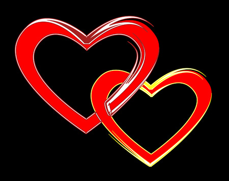 marrying: Enamoured pair.Two bound hearts. Vector illustration