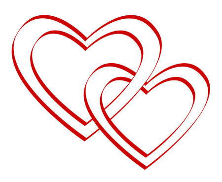 Valentines day.Two bound hearts. Vector illustration Vector
