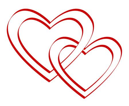Valentine's day.Two gebunden Herzen. Vector illustration
