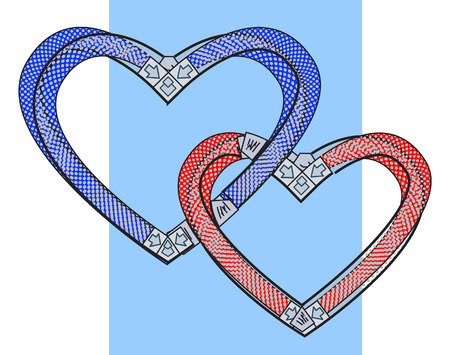 twain: Two bound hearts. Vector illustration