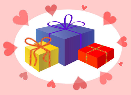 Holiday presents and hearts. Vector illustration Stock Vector - 3905990