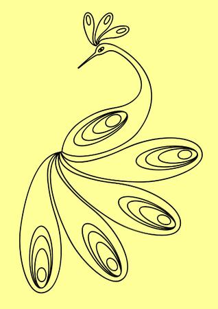 prodigy: Bird. Outlinear figure. Vector illustration.