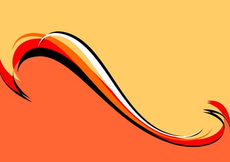 waved: Orange-red-black background. Vector illustration.
