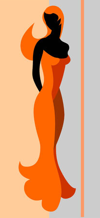evening dress: Young woman. Vector illustration.