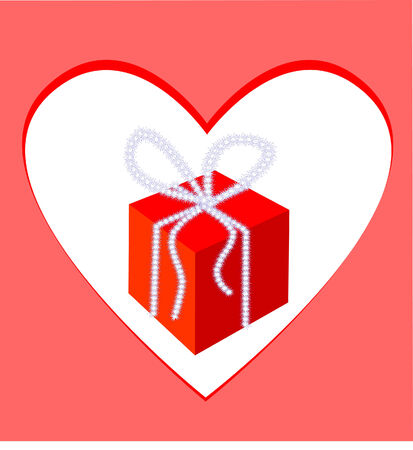 Gift-box and frame-heart illustration  Vector