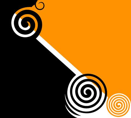 twirls: Abstract  black   yellow twirls illustration  Illustration