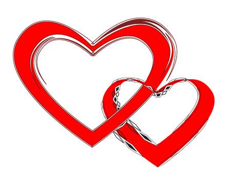 Loving couple  Two united hearts  illustration