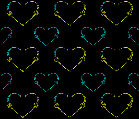 Seamless black pattern with hearts  illustration  Vector