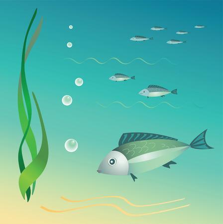 unterseeboot: Die Unterwasser-Welt. Fische, Algen, Blasen. Vector.