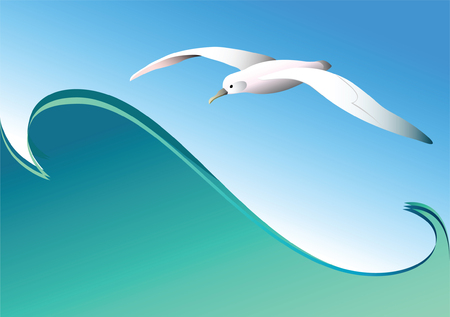 tidal wave: Seagull and wave. Vector. Illustration