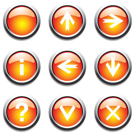function key: Orange buttons with signs. Vector.