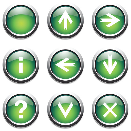 function key: Green buttons with signs. Vector.