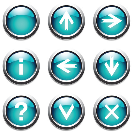 ques: Turquoise buttons with signs. Vector.