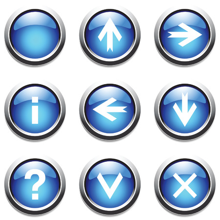 ques: Blue buttons with signs. Vector. Illustration