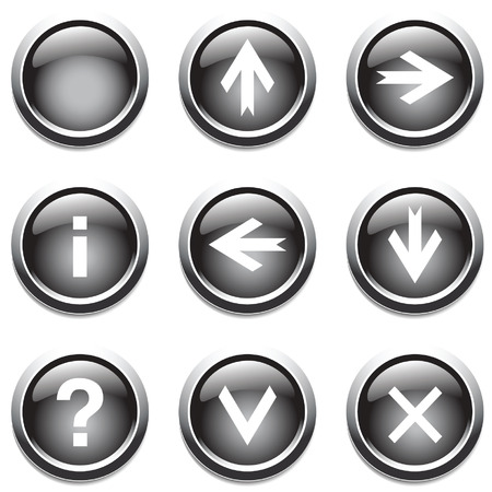 Black buttons with signs. Vector. Vector
