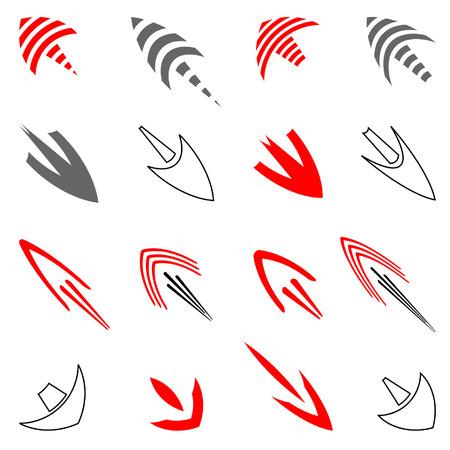 Vector set of art arrows. Vector