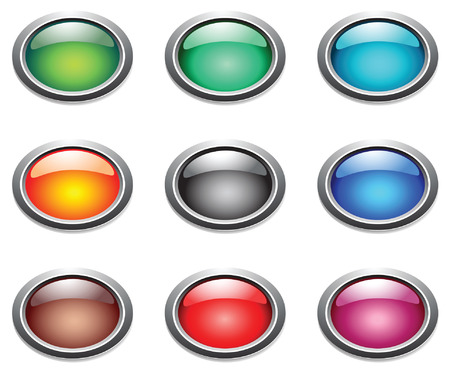 shiny black: Vector oval color buttons. Illustration