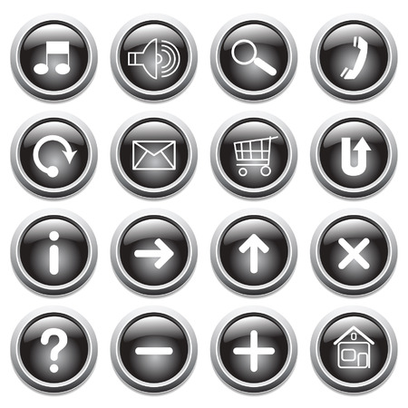 ques: Vector black buttons with symbols.  Illustration