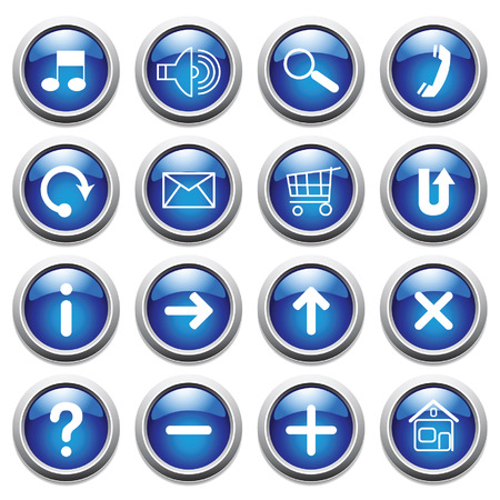 Vector blue buttons with symbols. Vector