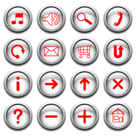 ques: Vector buttons with red symbols.
