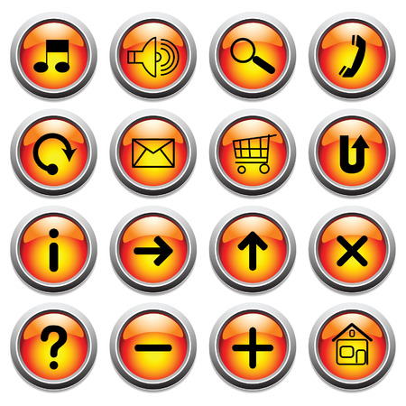 ques: Vector glossy buttons with symbols.