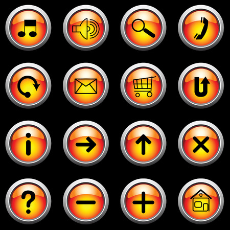 ques: Glowing buttons on black. Vector.