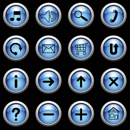 ques: Blue buttons on black.