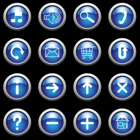 Blue buttons with white symbols on black. Vector